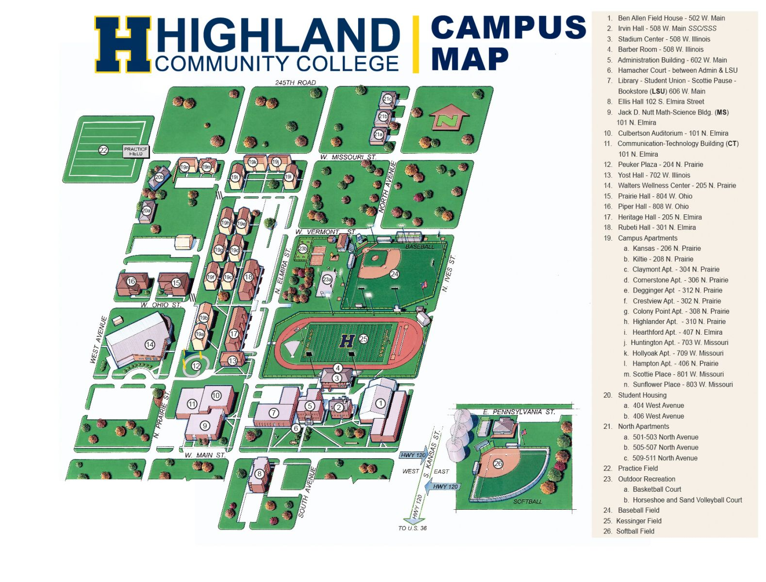 Jackson College Campus Map.Campus Map Highland Community College My Hcc