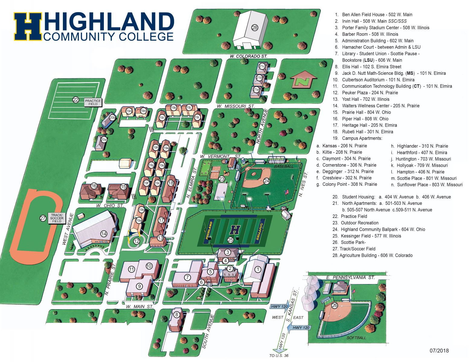 Illinois College Campus Map.Campus Map Highland Community College My Hcc
