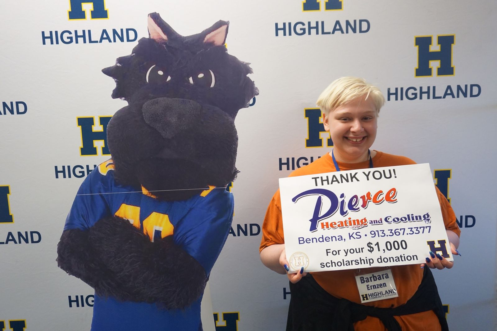 Barbara Ernzen, a senior at Troy High School, Troy, KS won a $1000 scholarship sponsored by Pierce Heating & Cooling of Bendena, KS.