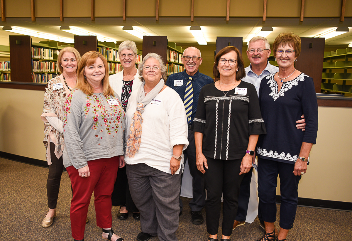 Those present at the Alumni and Awards Luncheon were; Back row left to right; Sharon Stelzer, Linda Crawford, Paul Crawford, '70, Ken McCauley, '70. Front row left to right; Jenny Knudson, Claudia Kale, Marj Locker, '78, Mary McCauley, '70.