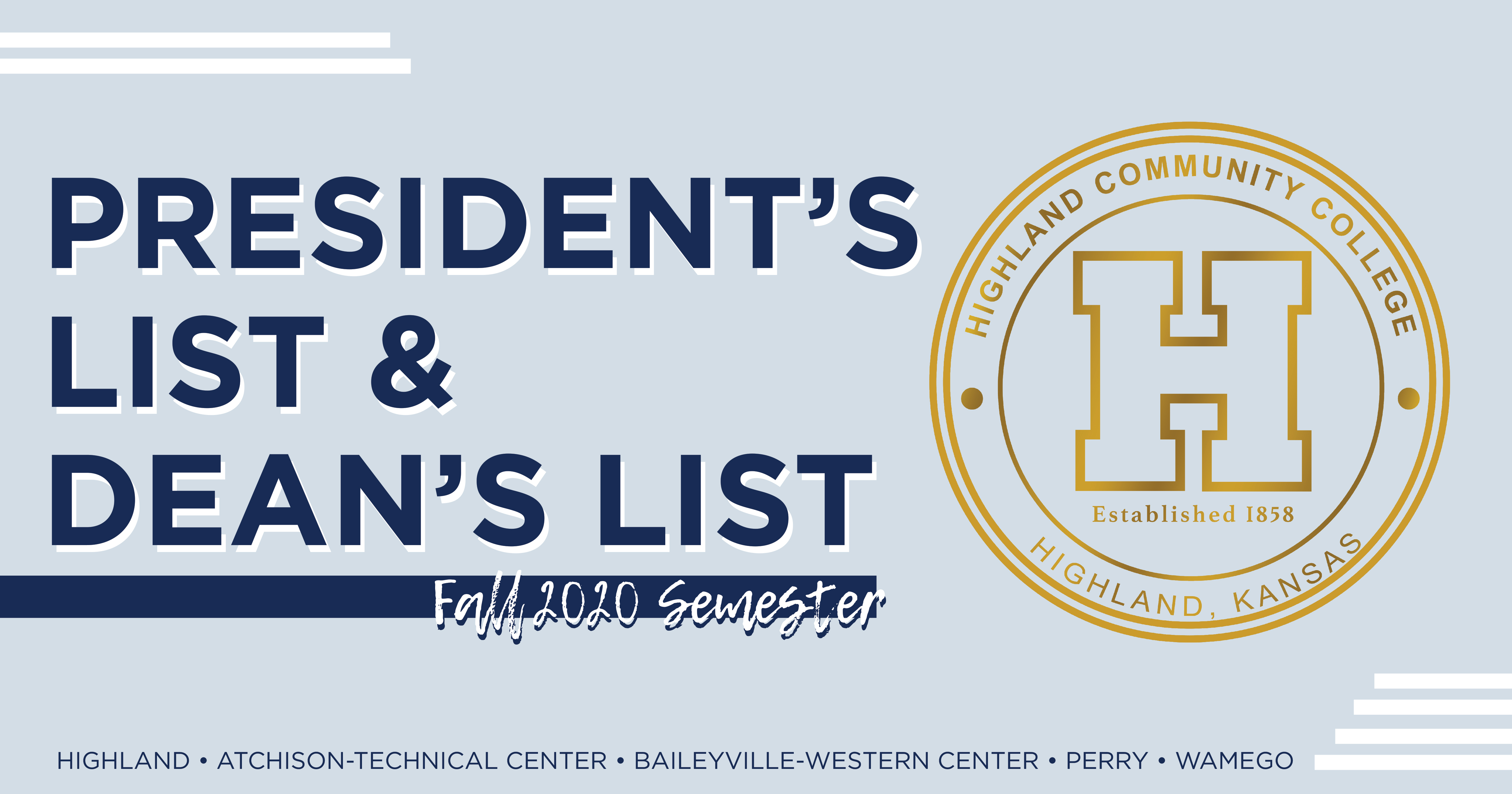 President's and Dean's list Fall 2020