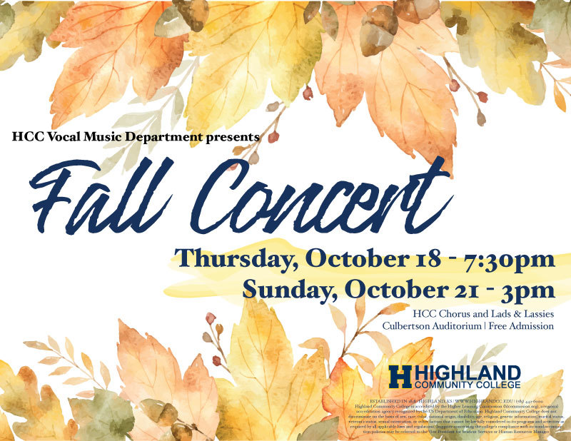 Fall Vocal Concert October 18 & 21