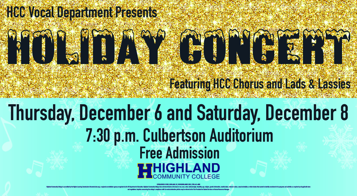 Highland Community College Announces Holiday Vocal Concert Date, December 6 & 8