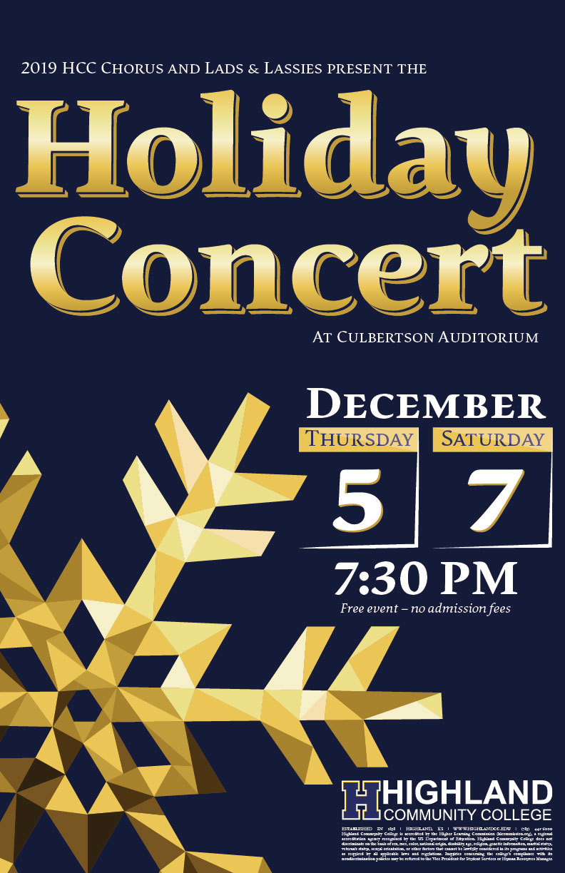 Highland Community College Announces Holiday Vocal Concert on December 5 & 7