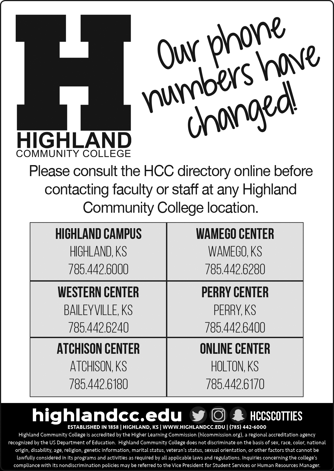 Phone Number Change at All Highland Community College Locations