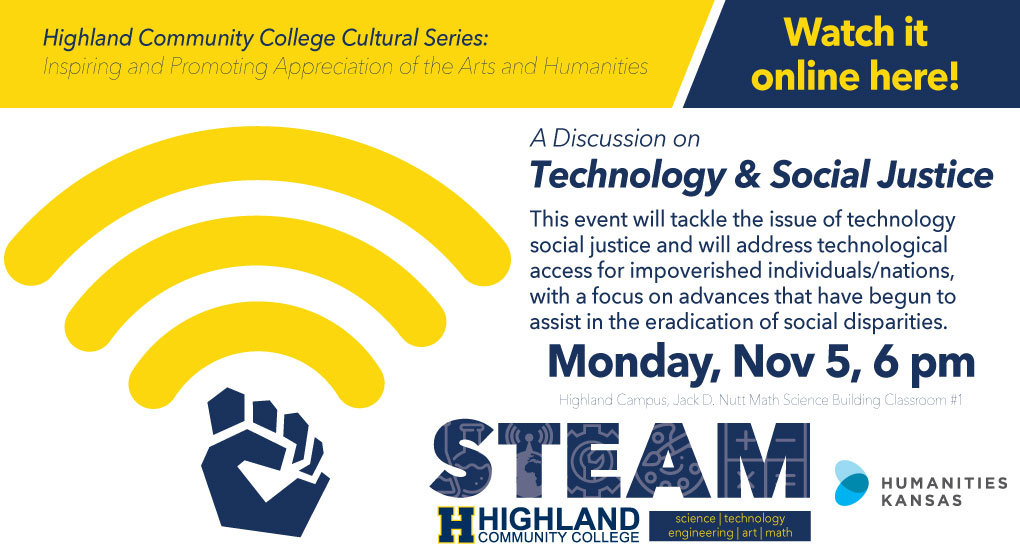 Highland Community College Cultural Series Discussing Technology and Social Justice Scheduled for November 5